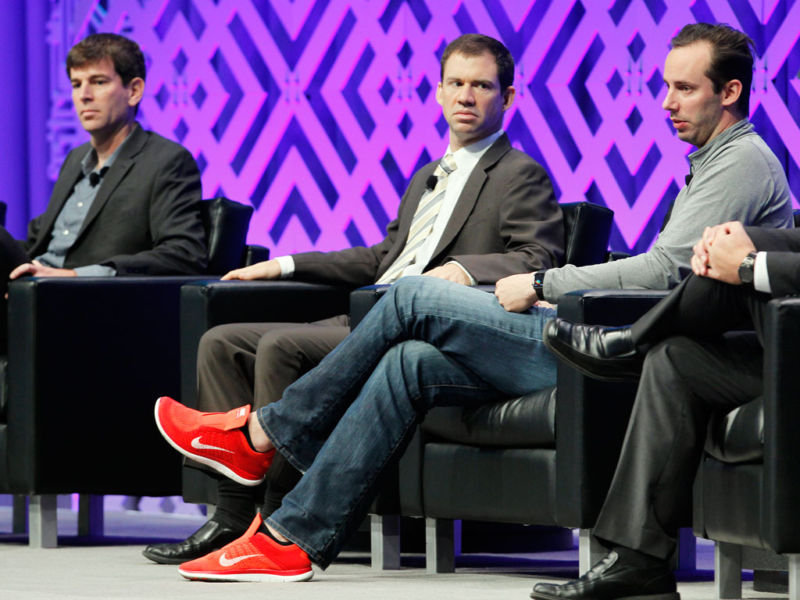Former Uber engineer Anthony Levandowski, at right, at a transportation conference in 2016.