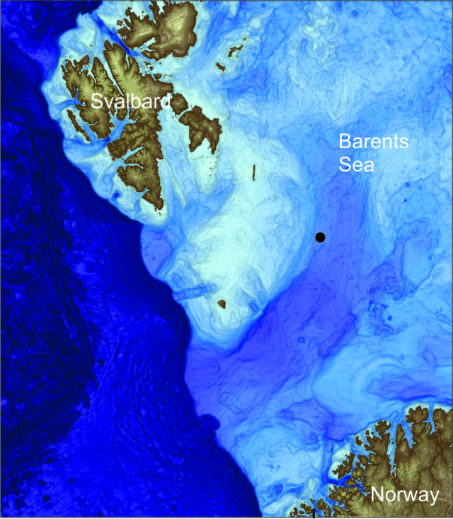 A map of the Barents seafloor between Svalbard and Norway. The black dot shows the location of the second study site.
