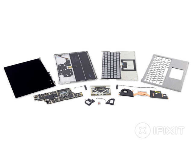 A fully dissected Surface Laptop.