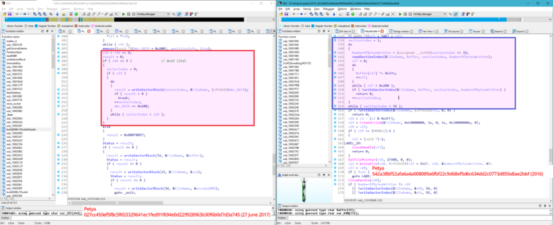 Code in Tuesday's attack, shown on the left, was altered to permanently destroy data.