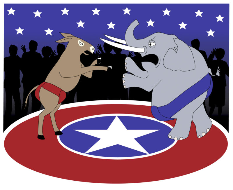 Drawing of a fight between a donkey and an elephant, representing Democrats and Republicans.
