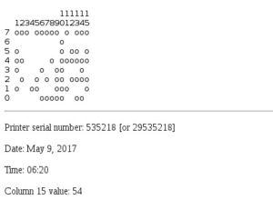 Die Ergebnisse der Eingabe des Punktmusters aus dem NSA-Leck in das EFF-Tool zeigen an, wann und wo die Seite gedruckt wurde.