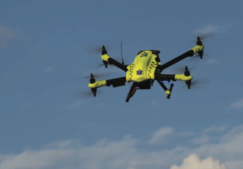 An emergency medical drone coming to the rescue.