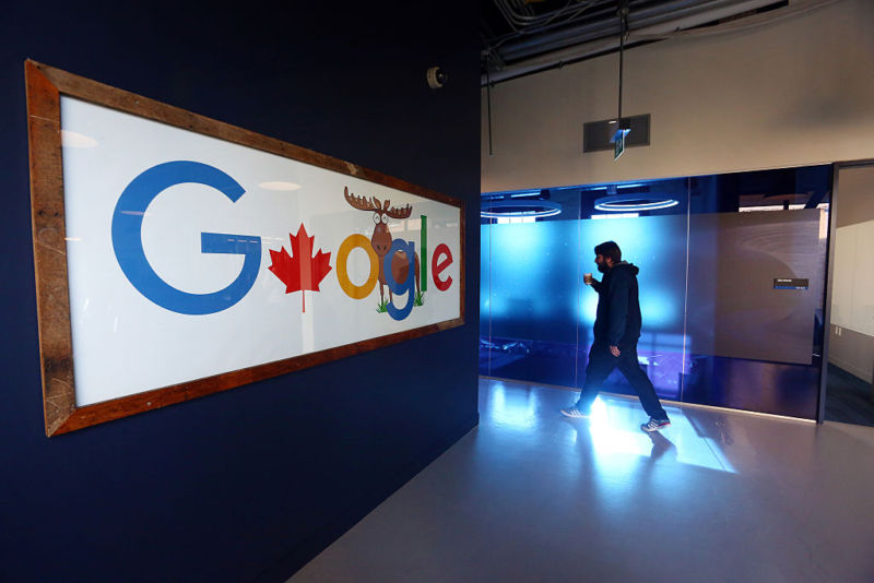 An employee walks in a hallway at Google Canada's engineering headquarters in Waterloo, Ontario.