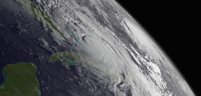 Hurricane Matthew is seen in 2016, closing in on Florida.