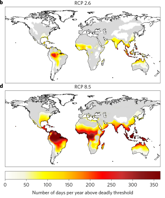 Results in 2100 for the low emissions (top) and high emissions (bottom) scenarios.