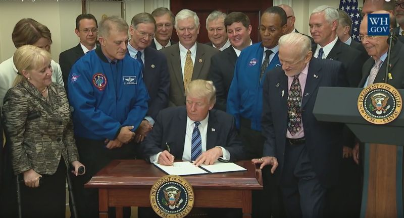 President Trump signs an executive order to create the National Space Council.