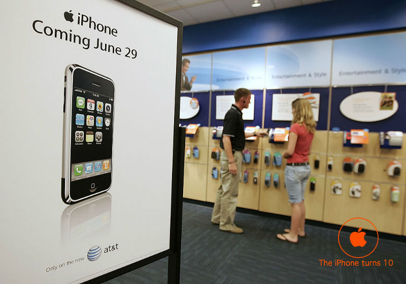 A poster announces the arrival of Apple's iPhone at the AT&T store in Orem, Utah, Monday, June 18, 2007.
