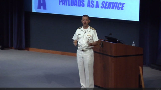 Chief of Naval Operations Admiral John Richardson speaks at the Naval War College on June 13, 2017.