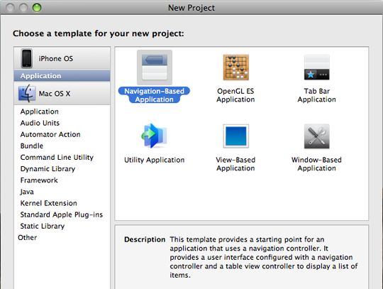 New iPhone-specific application templates are available through Xcode when you start a project