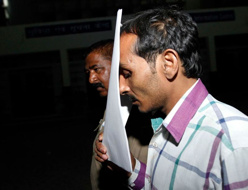 Uber Rape Case convicted cab driver Shiv Kumar Yadav after being sentenced to life imprisonment in rape case at Tis Hazari Court on November 3, 2015 in New Delhi, India.