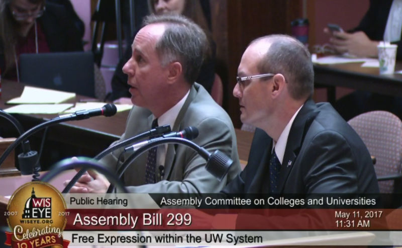 Bills sponsors Robin Vos (left) and Jesse Kremer (right) discuss it at a hearing.