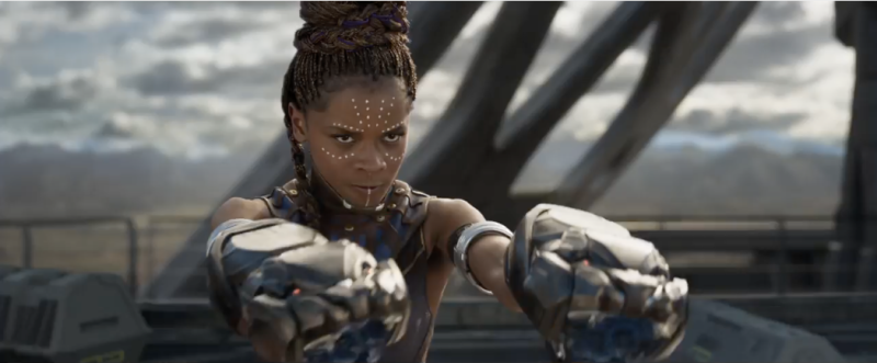 Wakandan scientist Shuri shows off her high-tech weapons.