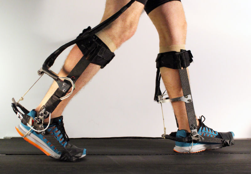 This is what the exoskeleton looks like when it's worn on both legs. The magic, however, is in the control software.