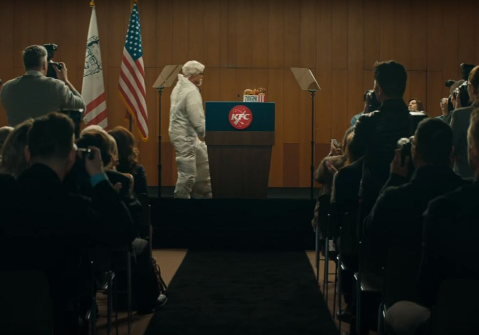 A screen grab from the KFC video announcing in April that the Zinger was going to space.