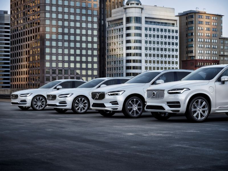 Volvo's current plug-in hybrid range, the  S90, V90, XC60, and XC90 T8s.