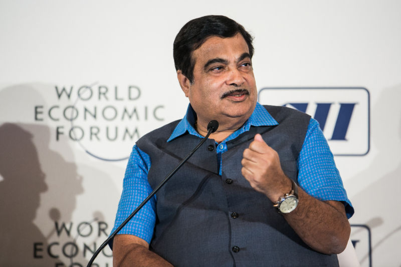 Nitin Jairam Gadkari, minister of Road Transport, Highways and Shipping of India at the India Economic Summit 2016 in New Delhi, India. Copyright by World Economic Forum / Benedikt von Loebell