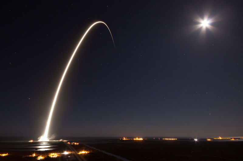 SpaceX's Falcon 9 rocket launches the EchoStar 23 satellite in March, 2017.