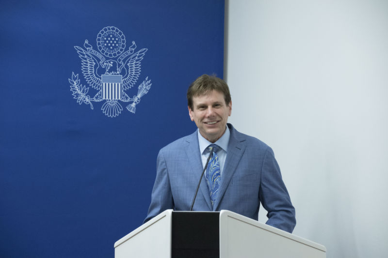 David Mikkelson, the founder of Snopes, seen here at the US Embassy in Vienna, in June 2017.