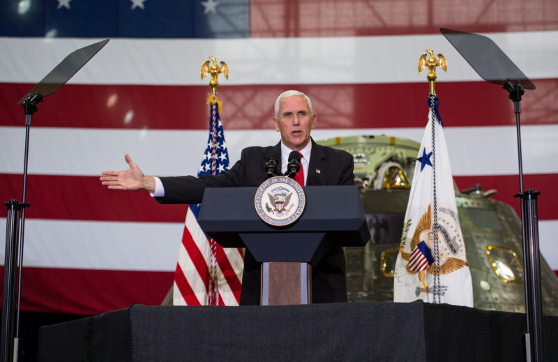 Vice President Mike Pence addresses NASA employees on Thursday at NASA's Kennedy Space Center.