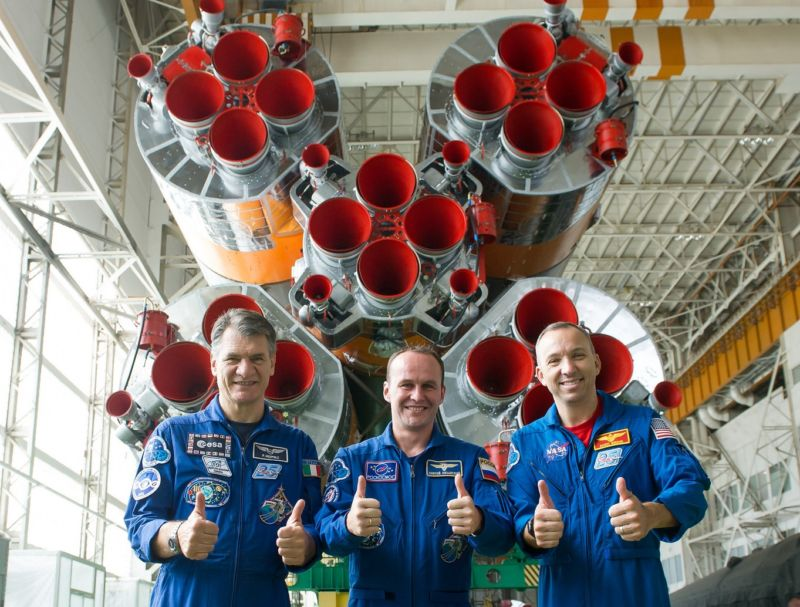 Expedition 52-53 crewmembers Paolo Nespoli of the European Space Agency (left), Sergey Ryazanskiy of the Russian Federal Space Agency (Roscosmos, center) and Randy Bresnik of NASA, were all smiles last week before their launch.