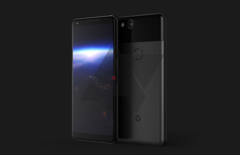 A Pixel 2 XL render.  The front has nice, slim bezels.