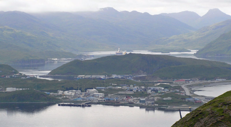 Dutch Harbor at Unalaska, Alaska, as seen in 2010.