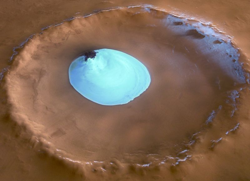 Crater water ice on Mars at Vastitas Borealis, seen by the European Space Agency's Mars Express.