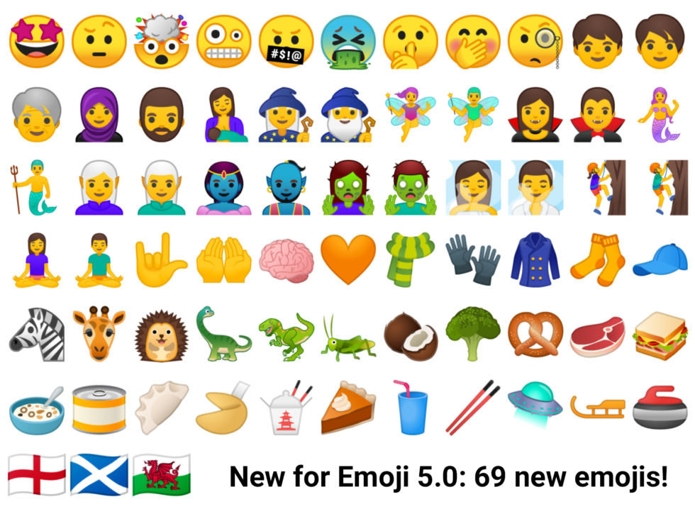 Android 8.0 brings Emoji 5.0 support. Not shown here: a billion skin tone options. The yellow people can be white, brown, black, or anything in between.
