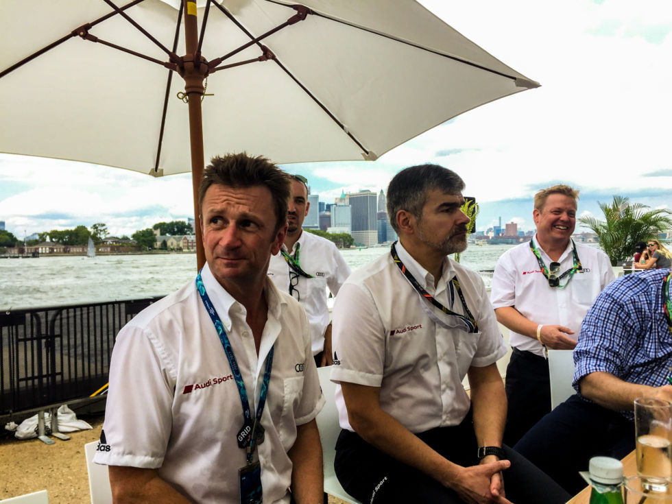 Multiple Le Mans winner Allan McNish is now Audi Sport's Director of Formula E. Next to him is Dieter Gass, head of motorsport at Audi AG.