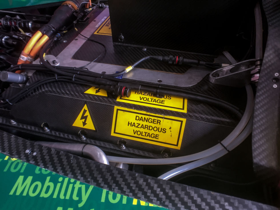 The 28kWh battery is an integral part of the Formula E chassis. During the conception of the series, consideration was given to having hot-swappable batteries, but that would have added even more weight to what's already a pretty heavy single seater race car.