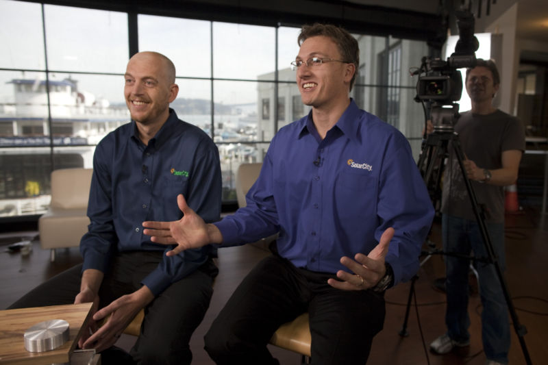 Lyndon Rive, right, and Peter Rive, fellow co-founders of SolarCity. Photographer: David Paul Morris/Bloomberg via Getty Images