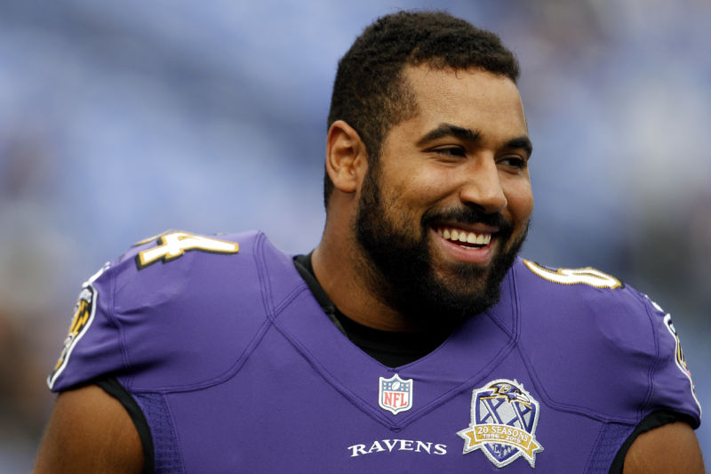 John Urschel, #64 of the Baltimore Ravens, retired from football.
