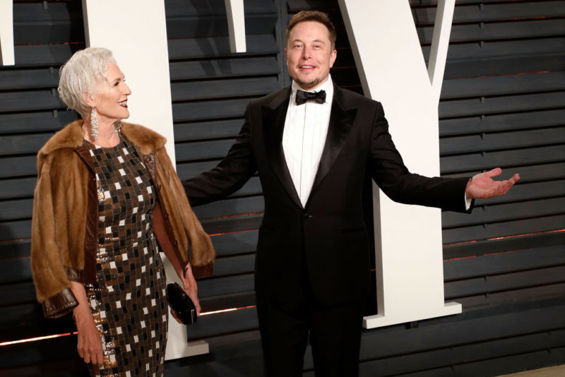 Maye Musk and Elon Musk attend the 2017 Vanity Fair Oscar Party in Beverly Hills.