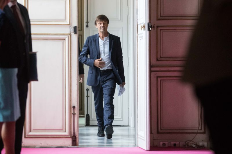 PARIS, FRANCE - JULY 06:  French Minister of Ecological and Inclusive Transition Nicolas Hulot holds a press conference in order to present his climate plans on July 6, 2017 in Paris, France. (Photo by Christophe Morin/IP3/Getty Images)
