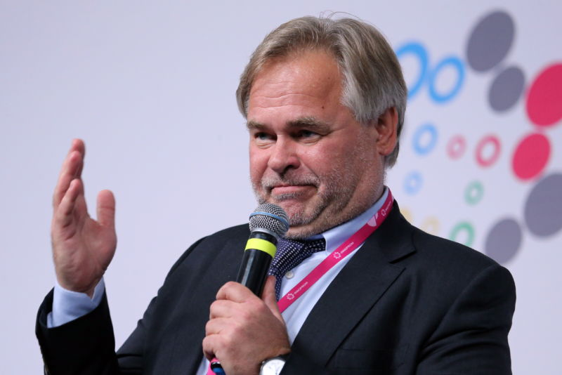 Kaspersky Lab CEO and Chairman Eugene Kaspersky speaks at a conference in Russia on July 10, 2017.