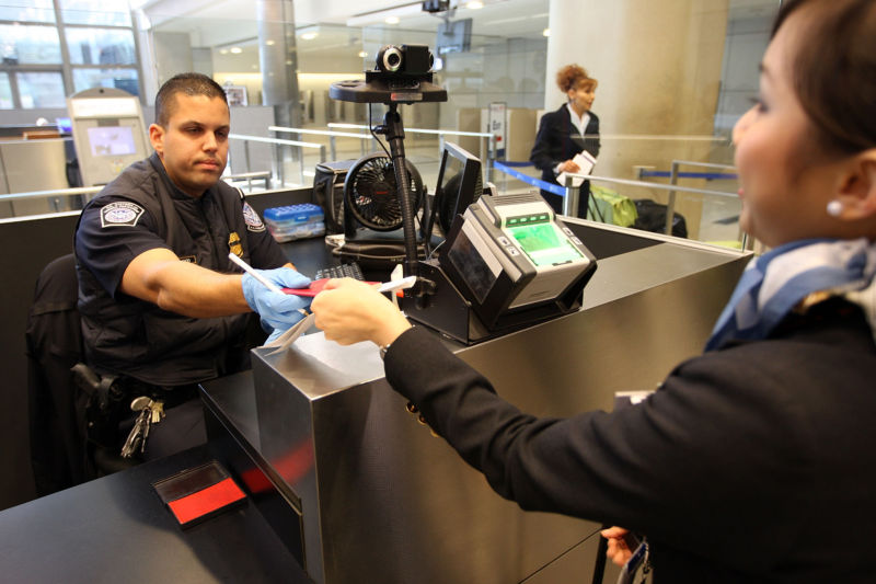 International air travelers are processed by US Customs and Border Protection agents upon arrival to Bradley International Terminal at Los Angeles International Airport (LAX) on December 10, 2009 in Los Angeles, California.