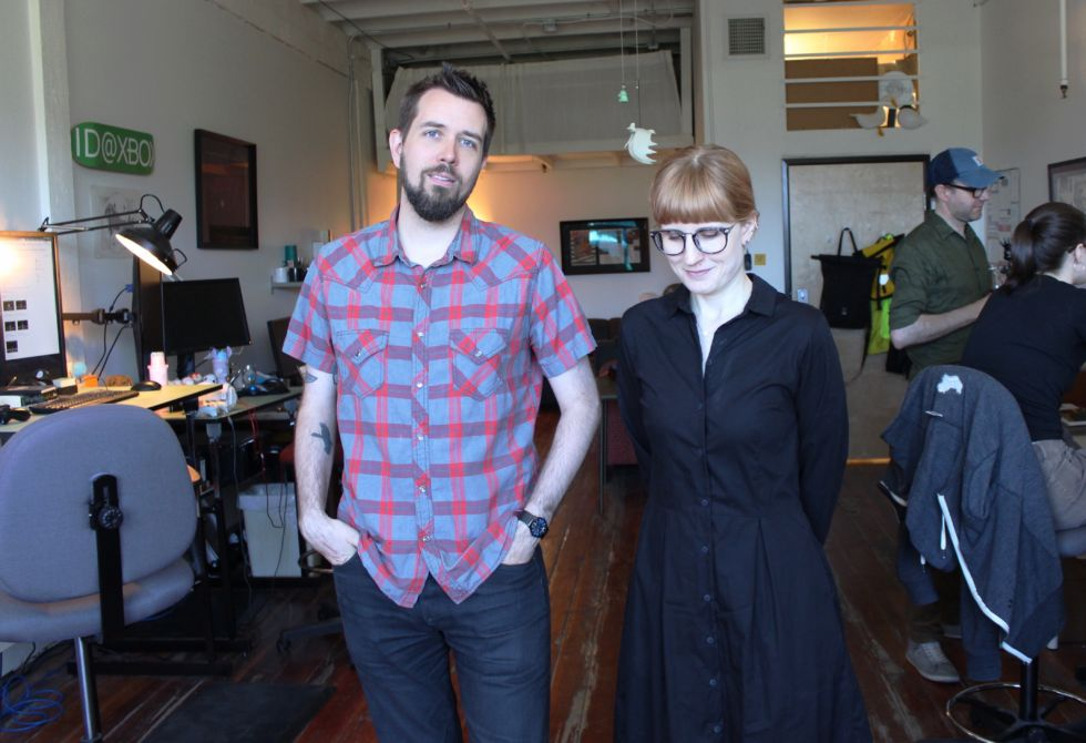 Steve Gaynor and Karla Zimonja, posing at Fullbright's office.