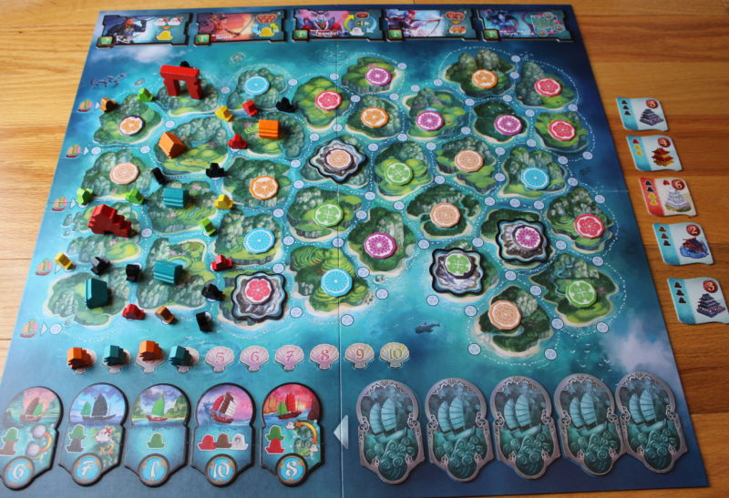 Yamataï's board gets increasingly colorful as the game progresses.