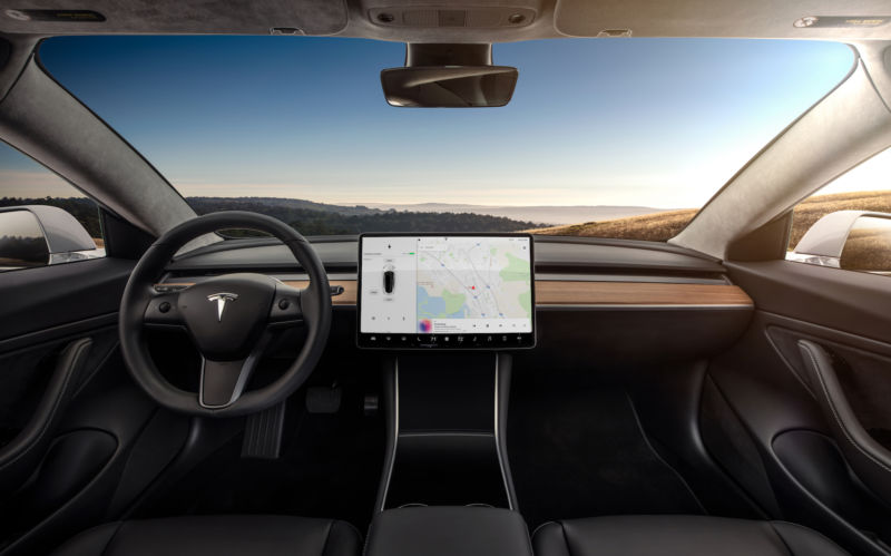Interior of Tesla's Model 3.