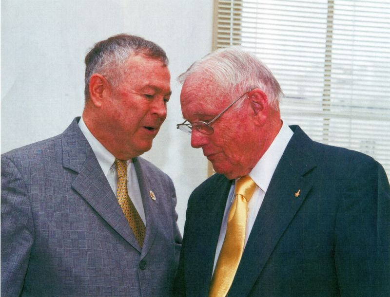 US Rep Dana Rohrabacher, left, in a photo with Neil Armstrong a few years ago.