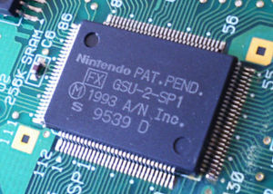 "The actual Super FX chip shows Patent Pending rights belonging to ""A/N Inc."" Nintendo was the majority shareholder of this collaboration with Argonaut."