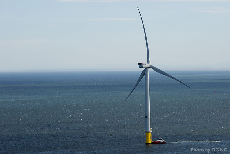 An image of an offshore wind turbine, from Dong Energy.