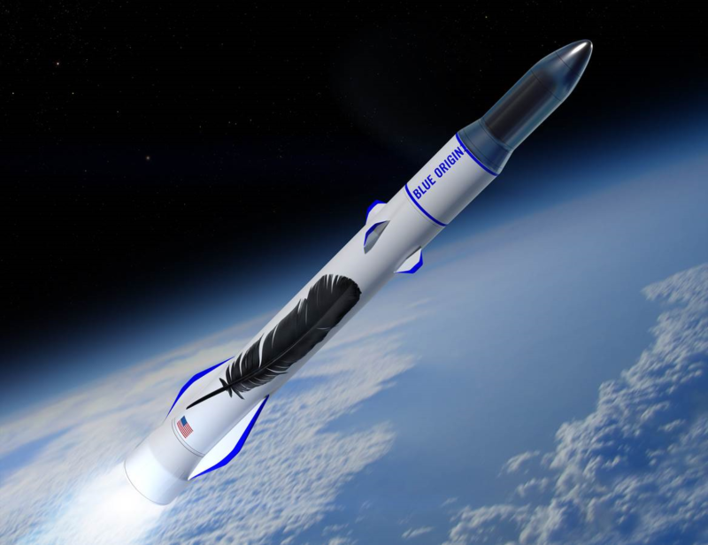 Blue Origin's concept art for a New Glenn rocket launch ascending to orbit.