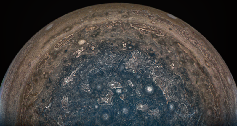 When JunoCam obtained this image on February 2, 2017, NASA's Juno spacecraft flew directly over Jupiter's south pole.