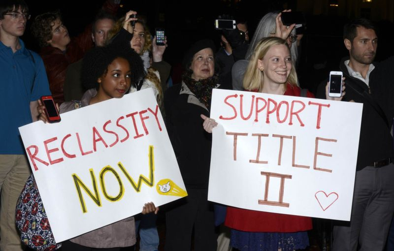 Net neutrality supporters rally for Title II reclassification of broadband in front of the White House in November 2014.