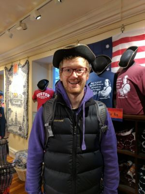 Dane Wilcox, having fun in Boston despite losing his backpack.