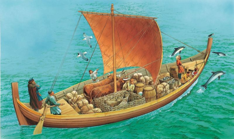 A Viking merchant ship carries trade goods far from home, including a special freeze-dried cod called stockfish.