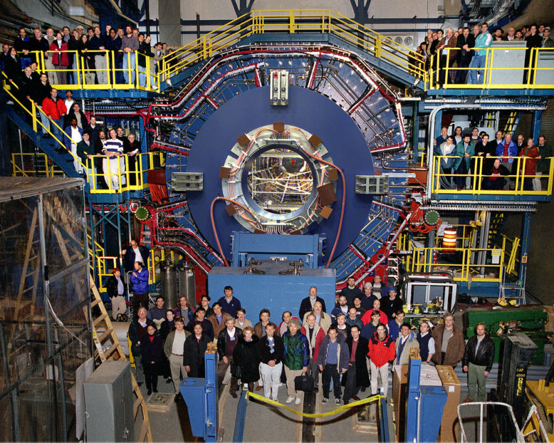 The STAR detector, with a bunch of physicists thrown in for scale.