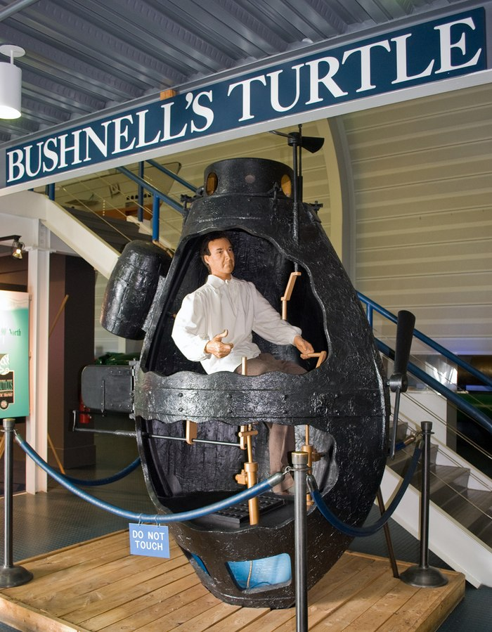 "A full-sized mockup of the Bushnell ""Turtle,"" the world's first military submarine used in action, at the US Navy Submarine Force Museum and Library, Groton Connecticut."